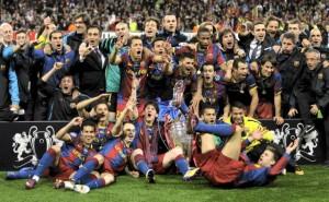 Barcelona świętuje zwycięstwo w Lidze Mistrzów 2011