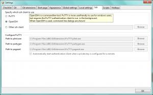 Okno ustawień SSH w GitExtensions