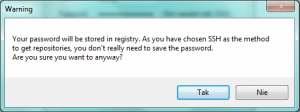 Your password will be stored in registry. As you have chosen SSH as the method to get repositories, you don't really need to save the password. Are you sure you want to anyway?