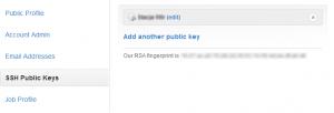 Lista kluczy publicznych w GitHub