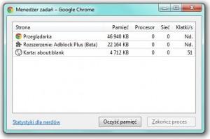 Chrome - Oczyść pamięć (Purge memory)