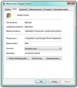 Chrome - właściwości aplikacji