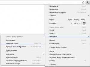 Menedżer zadań Chrome