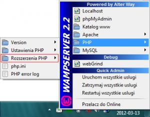 Pasek powiadomień » WampServer » PHP » Rozszerzenia PHP